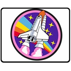Badge Patch Pink Rainbow Rocket Fleece Blanket (medium)