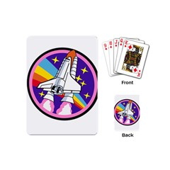 Badge Patch Pink Rainbow Rocket Playing Cards (mini)