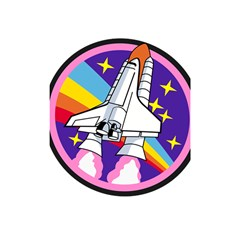 Badge Patch Pink Rainbow Rocket Shower Curtain 48  X 72  (small)