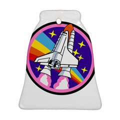 Badge Patch Pink Rainbow Rocket Ornament (Bell)