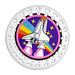 Badge Patch Pink Rainbow Rocket Round Filigree Ornament (two Sides)
