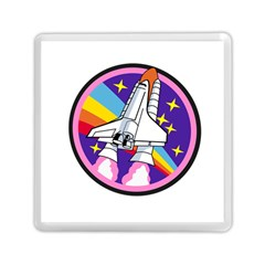 Badge Patch Pink Rainbow Rocket Memory Card Reader (square)