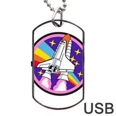 Badge Patch Pink Rainbow Rocket Dog Tag Usb Flash (two Sides)