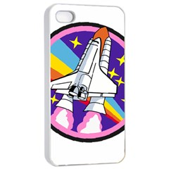 Badge Patch Pink Rainbow Rocket Apple iPhone 4/4s Seamless Case (White)