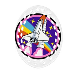 Badge Patch Pink Rainbow Rocket Oval Filigree Ornament (Two Sides)
