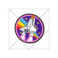 Badge Patch Pink Rainbow Rocket Acrylic Tangram Puzzle (4  x 4 )