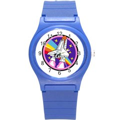 Badge Patch Pink Rainbow Rocket Round Plastic Sport Watch (s)