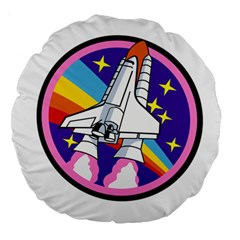 Badge Patch Pink Rainbow Rocket Large 18  Premium Round Cushions