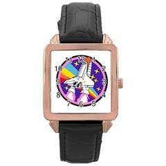 Badge Patch Pink Rainbow Rocket Rose Gold Leather Watch
