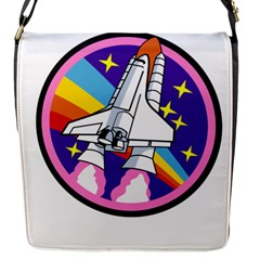 Badge Patch Pink Rainbow Rocket Flap Messenger Bag (s)