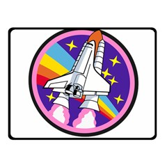 Badge Patch Pink Rainbow Rocket Double Sided Fleece Blanket (small)
