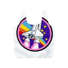 Badge Patch Pink Rainbow Rocket Full Print Recycle Bags (s)