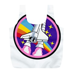 Badge Patch Pink Rainbow Rocket Full Print Recycle Bags (L)