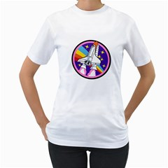 Badge Patch Pink Rainbow Rocket Women s T Shirt (white)