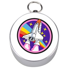Badge Patch Pink Rainbow Rocket Silver Compasses