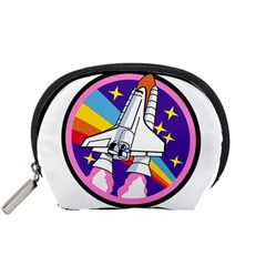 Badge Patch Pink Rainbow Rocket Accessory Pouches (small)