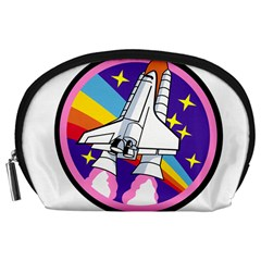 Badge Patch Pink Rainbow Rocket Accessory Pouches (large)