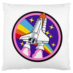 Badge Patch Pink Rainbow Rocket Large Flano Cushion Case (two Sides)