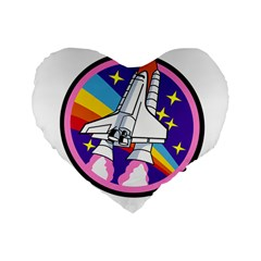 Badge Patch Pink Rainbow Rocket Standard 16  Premium Flano Heart Shape Cushions