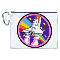 Badge Patch Pink Rainbow Rocket Canvas Cosmetic Bag (xxl)