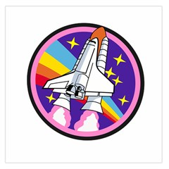 Badge Patch Pink Rainbow Rocket Large Satin Scarf (square)