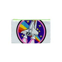 Badge Patch Pink Rainbow Rocket Cosmetic Bag (xs)