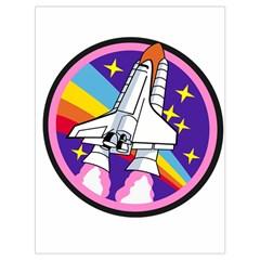 Badge Patch Pink Rainbow Rocket Drawstring Bag (large)
