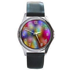 A Mix Of Colors In An Abstract Blend For A Background Round Metal Watch