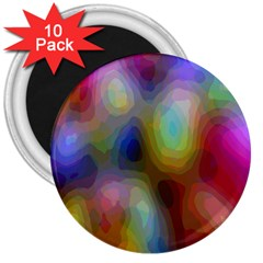 A Mix Of Colors In An Abstract Blend For A Background 3  Magnets (10 Pack)