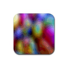 A Mix Of Colors In An Abstract Blend For A Background Rubber Square Coaster (4 pack)