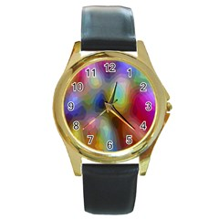 A Mix Of Colors In An Abstract Blend For A Background Round Gold Metal Watch