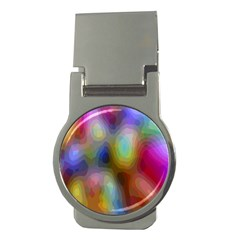 A Mix Of Colors In An Abstract Blend For A Background Money Clips (round)
