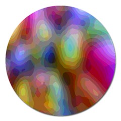 A Mix Of Colors In An Abstract Blend For A Background Magnet 5  (round)