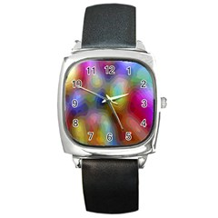 A Mix Of Colors In An Abstract Blend For A Background Square Metal Watch