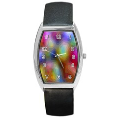 A Mix Of Colors In An Abstract Blend For A Background Barrel Style Metal Watch