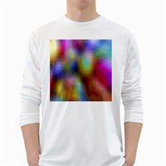 A Mix Of Colors In An Abstract Blend For A Background White Long Sleeve T-Shirts