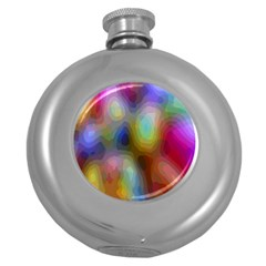 A Mix Of Colors In An Abstract Blend For A Background Round Hip Flask (5 Oz)