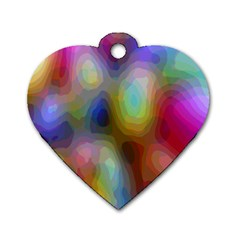 A Mix Of Colors In An Abstract Blend For A Background Dog Tag Heart (two Sides)