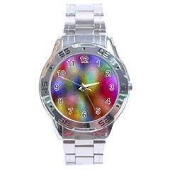 A Mix Of Colors In An Abstract Blend For A Background Stainless Steel Analogue Watch