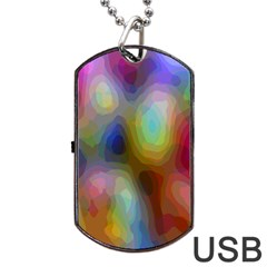 A Mix Of Colors In An Abstract Blend For A Background Dog Tag Usb Flash (one Side)