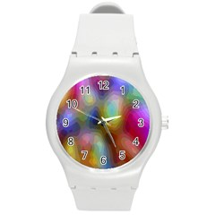 A Mix Of Colors In An Abstract Blend For A Background Round Plastic Sport Watch (m)