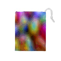 A Mix Of Colors In An Abstract Blend For A Background Drawstring Pouches (medium)
