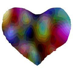 A Mix Of Colors In An Abstract Blend For A Background Large 19  Premium Flano Heart Shape Cushions