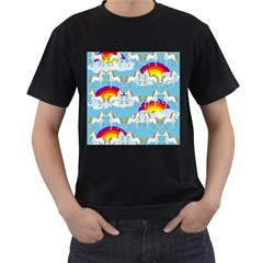 Rainbow pony  Men s T-Shirt (Black) (Two Sided)