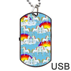 Rainbow pony  Dog Tag USB Flash (One Side)