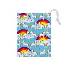 Rainbow pony  Drawstring Pouches (Medium)