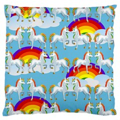 Rainbow pony  Large Flano Cushion Case (Two Sides)