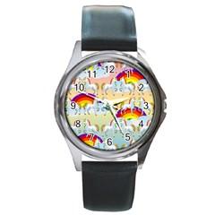 Rainbow pony  Round Metal Watch