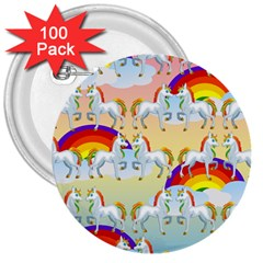Rainbow pony  3  Buttons (100 pack)