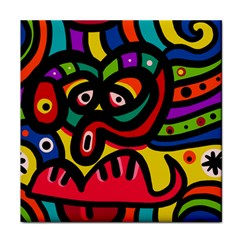 A Seamless Crazy Face Doodle Pattern Tile Coasters